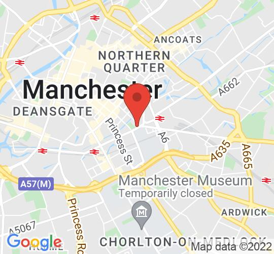 Google map static shot of The Waterside Theatre, Manchester, M1 3HB