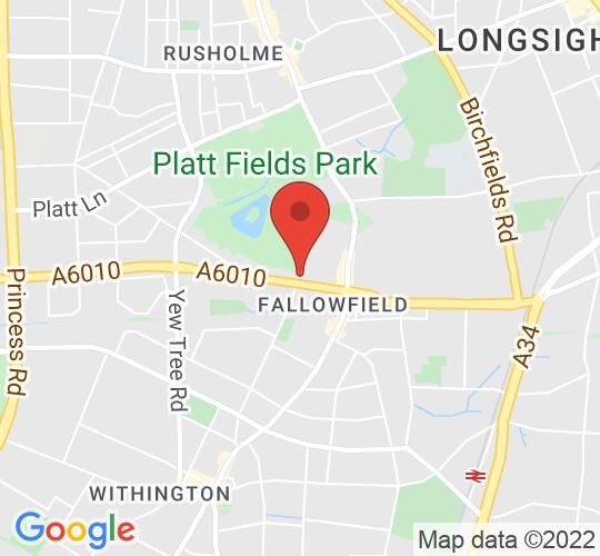 Google map static shot of Holy Innocents Church, Fallowfield, Manchester, M14 6JZ