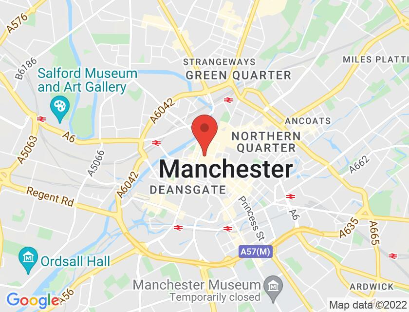 Google map static shot of St Ann's Church, Manchester, M2 7LF