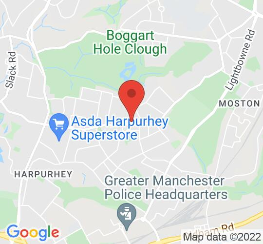 Google map static shot of The Simpson Memorial Hall, Manchester, M40 9NB