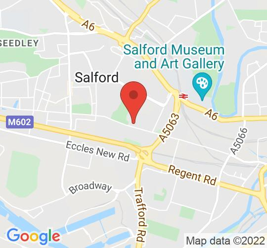 Google map static shot of Salford Arts Theatre, Salford, M5 4BS