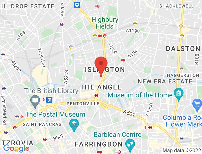 Google map static shot of Bolt Burdon Solicitors, The Angel, N1 0NT