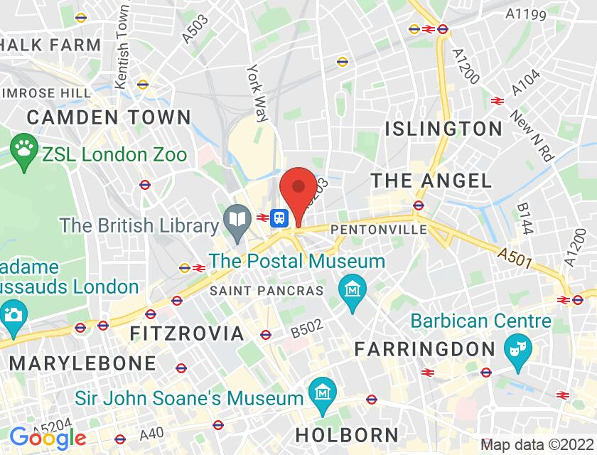 Google map static shot of PQA Studios London, London, N1 9JY