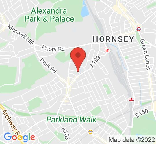 Google map static shot of Junior School Playground, Rokesly School (Elmfield Avenue entrance), London, N8 8NH
