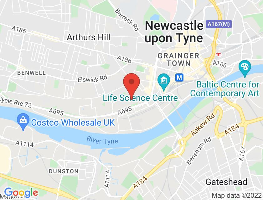 Google map static shot of Newcastle College Performance Academy, 3 Maple St, Newcastle upon Tyne, NE4 7DQ