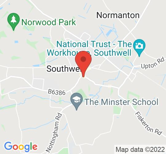 Google map static shot of Southwell Minster, Southwell, NG25 0HD
