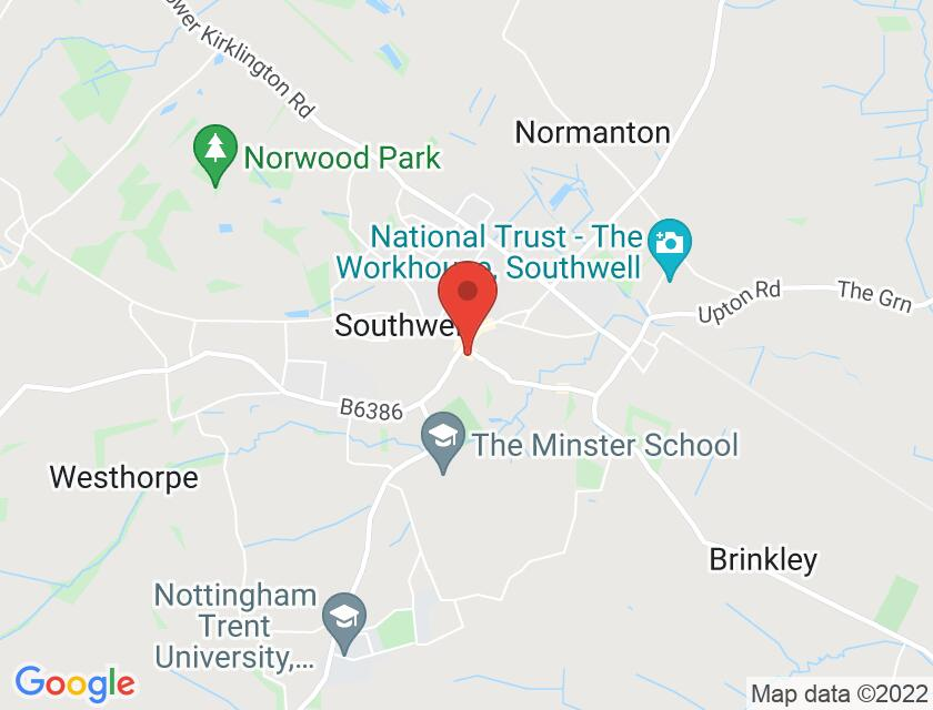 Google map static shot of Southwell Minster (Quire), Southwell, NG25 0HD