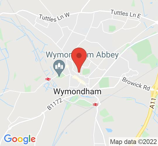 Google map static shot of Wymondham Central Hall, Wymondham, NR18 0QB