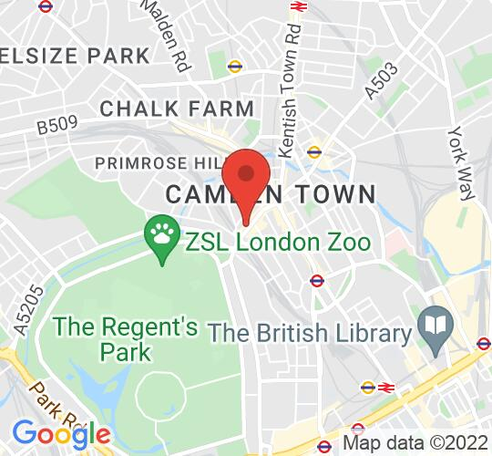 Google map static shot of The Dublin Castle Camden Town, London, NW1 7AN