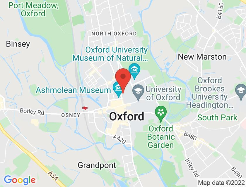 Google map static shot of St John's College Lodge, Oxford, OX1 3JP