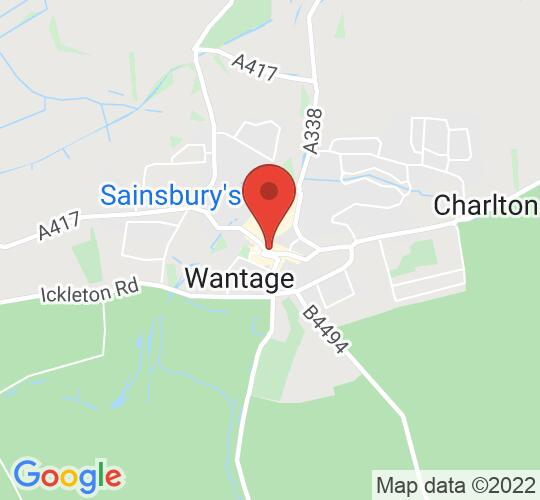 Google map static shot of Meet at King Alfred's Statue, Wantage, OX12 8AW