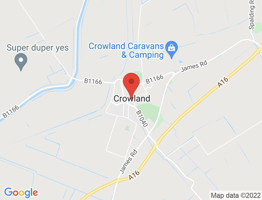 Google map static shot of Crowland Abbey, Peterborough, PE6 0EN