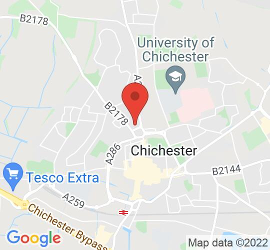 Google map static shot of St Paul's Church Chichester, Chichester, PO19 6FT