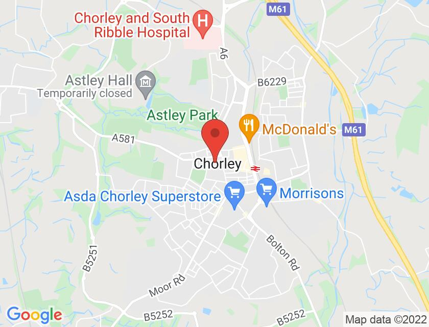 Google map static shot of Chorley Little Theatre, Chorley, PR7 2RL