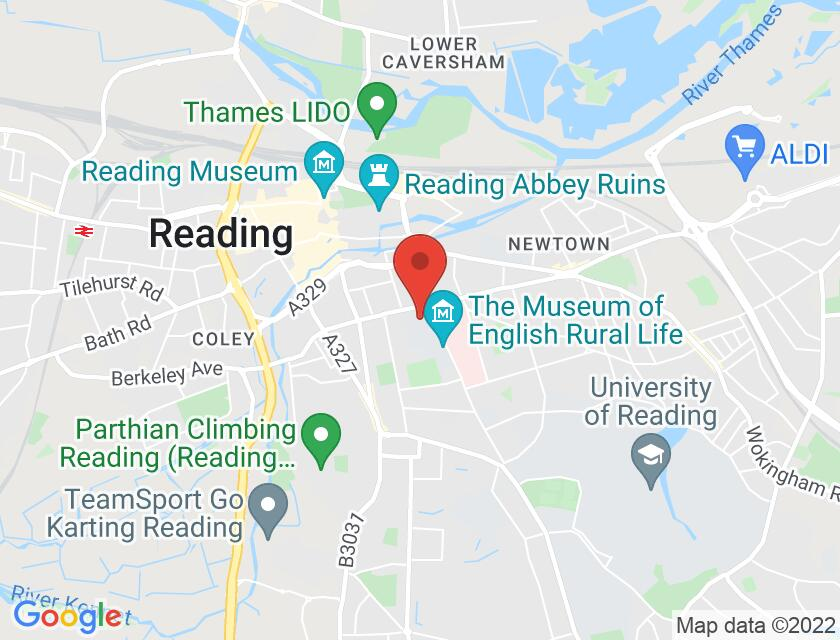 Google map static shot of Great Hall, University of Reading, Berks, RG1 5AQ