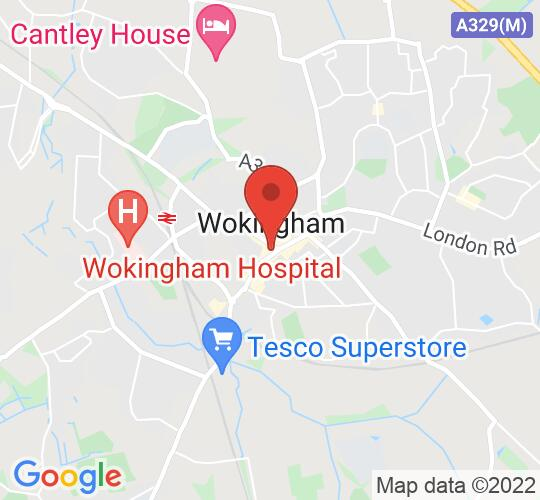 Google map static shot of Wokingham Town Hall, Berkshire, RG40 1AS