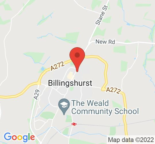 Google map static shot of BILLINGSHURST Village Hall, West Sussex, RH14 9EW