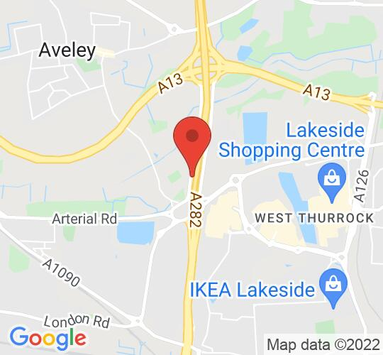 Google map static shot of The Thurrock Hotel, Purfleet, RM19 1YN