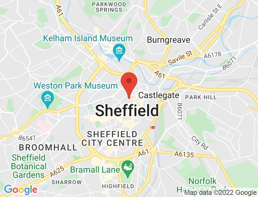 Google map static shot of Sheffield Cathedral, South Yorkshire, S1 1HA