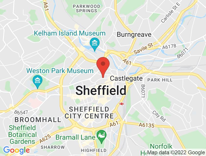 Google map static shot of Sheffield Cathedral, South Yorkshire, S1 2EF