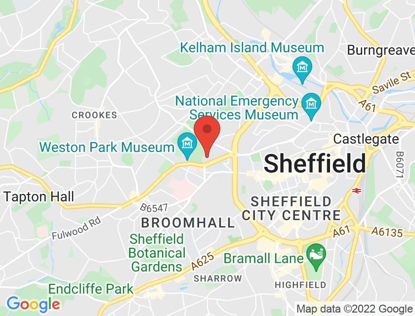 Google map static shot of University of Sheffield, Firth Hall, Sheffield, S10 2TN