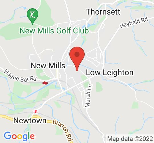 Google map static shot of New Mills School & Sixth Form, High Peak, SK22 4NR