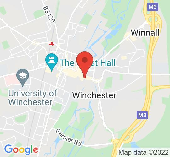 Google map static shot of Winchester Guildhall, Winchester, SO23 9GH