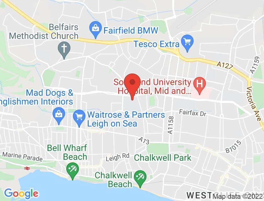 Google map static shot of Westcliff High School for Boys, Westcliff-on-Sea, SS0 0BP