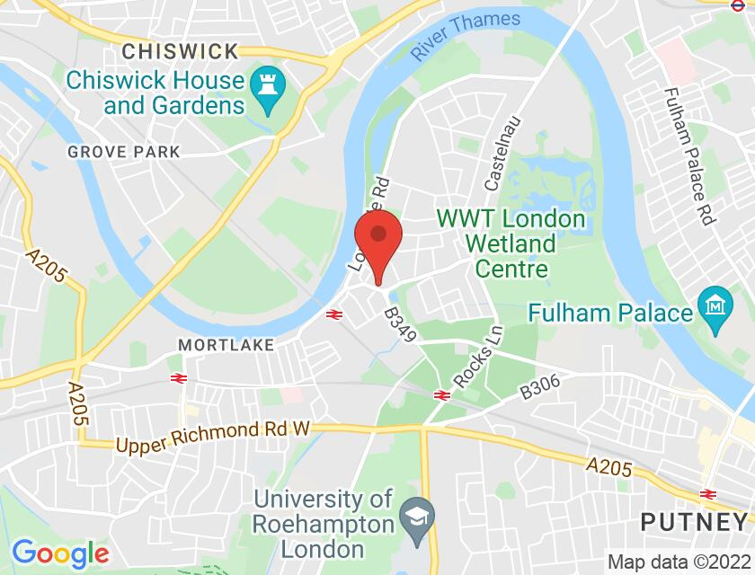 Google map static shot of Rose House, Barnes, SW13 9LD