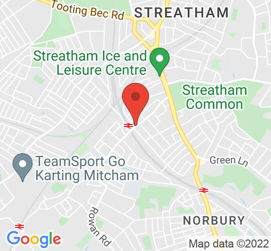 Google map static shot of The Railway, Streatham, London, SW16 5SD