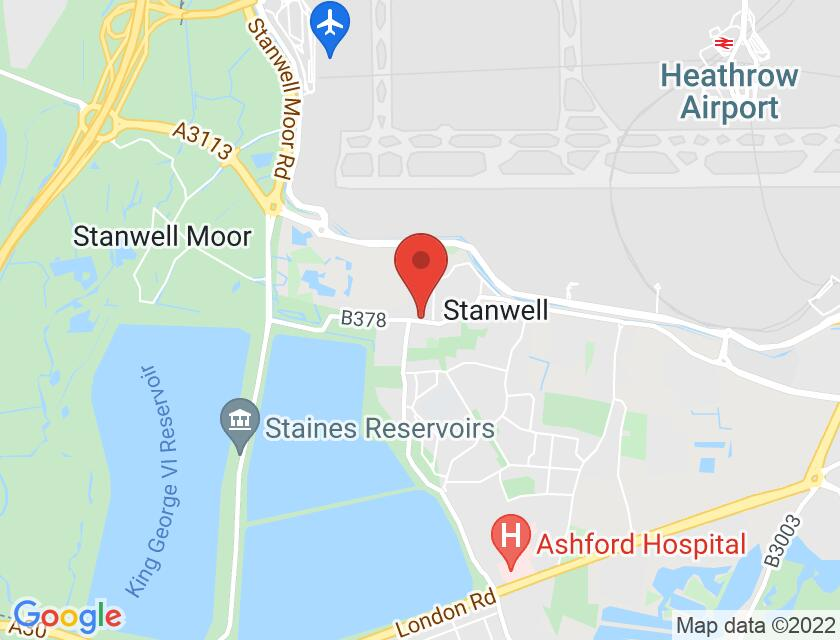 Google map static shot of Stanwell Village Hall, Staines, TW19 7JR