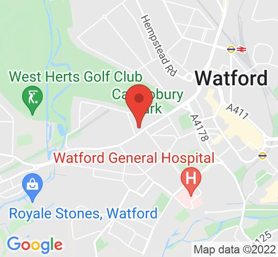 Google map static shot of The Clarendon Muse, Watford, WD18 7JA
