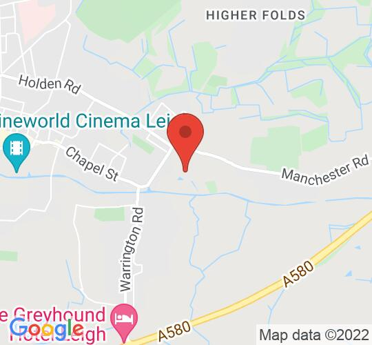 Google map static shot of Leigh Film Society at The Spinners Mill, Leigh, WN7 2LB