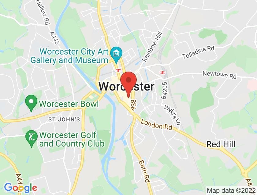 Google map static shot of Greyfriars House and Gardens, Worcester, WR1 2LZ