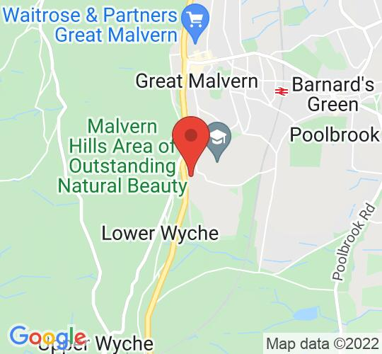 Google map static shot of Aldwyn's Restaurant, Malvern, WR14 3HL