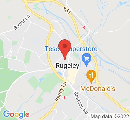 Google map static shot of Rugeley Rose Theatre, Staffs, WS15 2AA