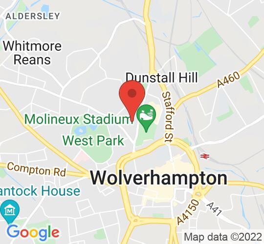 Google map static shot of Newhampton Arts Centre, West Midlands, WV1 4AN